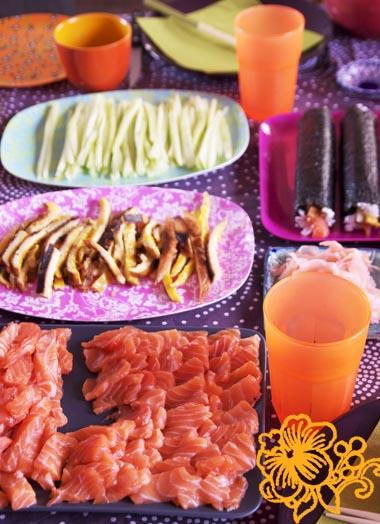 sushi saumon et wasabi
