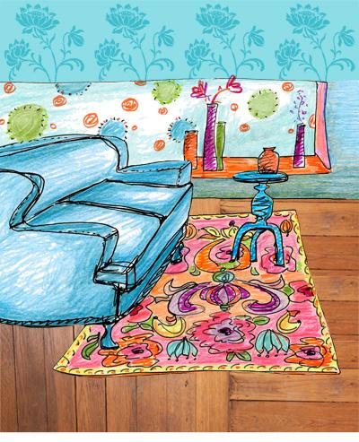 dessin aux crayons de couleurs canapé Sophie Plouvier