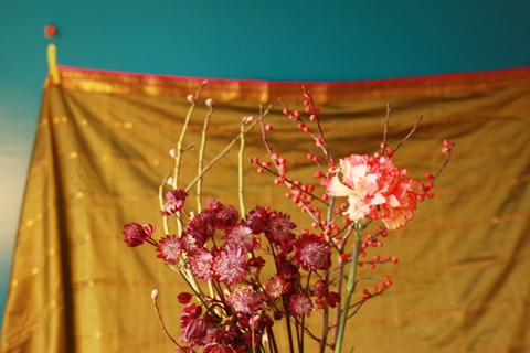 fleurs fond mordoré 2