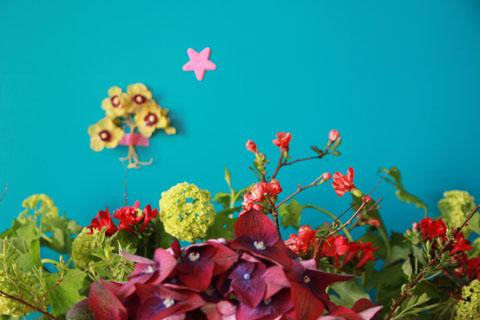 mon bouquet et mon mur turquoise