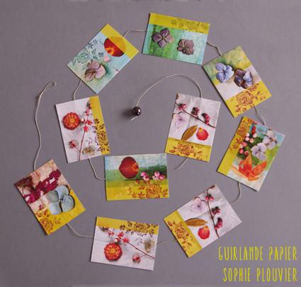 guirlande papier et fleurs séchées