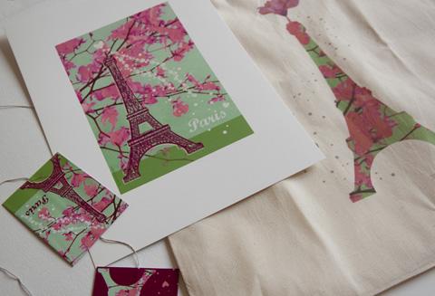 """Guirlande Tote-bag et illustration """"Tour Eiffel fleurie"""" Sophie plouvier"""
