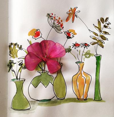 dessin aquarelle et fleur séchée Sophie Plouvier