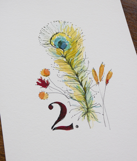"""illustration """"plume de paon"""" Sophie Plouvier"""