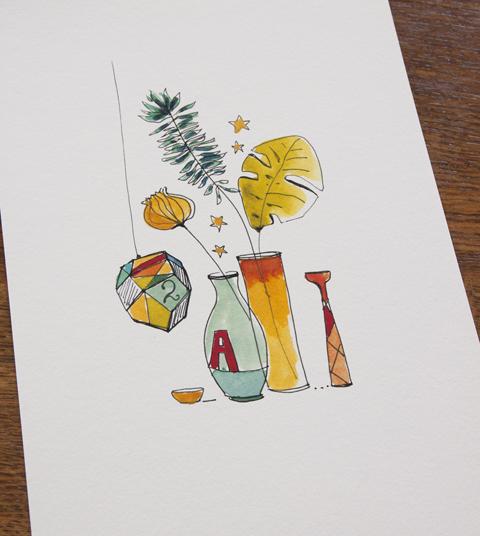 "illustration ""3 vases fleuris"" Sophie Plouvier"
