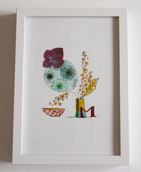 """illustration """"vase et pétale séché"""" Sophie Plouvier"""