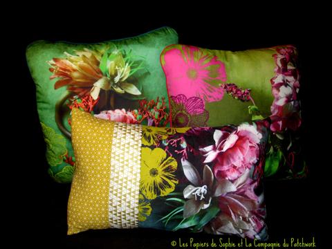 nouveaux coussins avec la compagnie du patchwork le p le m le de sophie. Black Bedroom Furniture Sets. Home Design Ideas