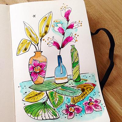 aquarelle fleurie Sophie Plouvier