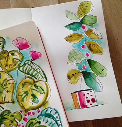 aquarelle végétale Sophie Plouvier