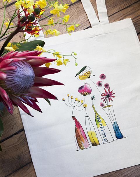 """Totebag """"Vases fleuris à l'aquarelle"""" Sophie Plouvier"""