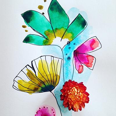 aquarelle florale - Sophie Plouvier