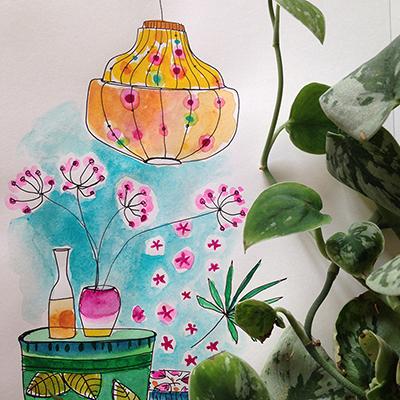 aquarelle et plante verte - Sophie Plouvier